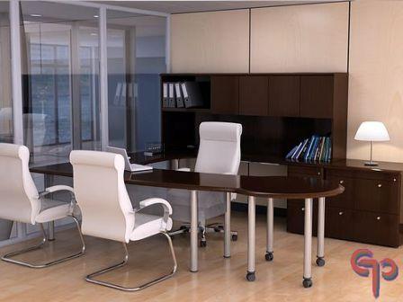 Conjunto principal de 2 pzas der nogal obscuro for Conjunto muebles oficina